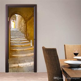 stone art landscaping Australia - 3D Wall Sticker Decal Art Decor Vinyl European Stone Staircase Door Poster Removable Mural Poster Scene Window Door Wallpaper 10pc WN641