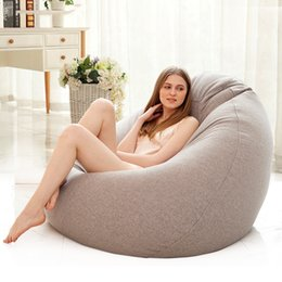 lazy bean bags UK - Bean Bag Sofa Cover Lounger Chair Sofa Seat Living Room Furniture Without Filler Beanbag Sofa Bed Pouf Puff Couch Lazy Tatami T200601