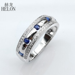 pave diamond white gold 2019 - HELON Solid 10k White Gold Certified Round 0.65ct Natural Sapphires & Diamonds Engagement Wedding Men Ring Trendy Party