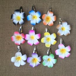 Hawaiian Hair Australia - Drop shipping Hawaiian flower jewelry Frangipani Polymer hair pin frangipani artificial flower Girls wedding bride BB CLIP 90pcs