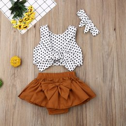 $enCountryForm.capitalKeyWord Australia - Newborn Infant Kid Girls Polka Dot Tops Headband Bow Knot Skirt 3PCS Clothes oddler Kids Baby Girl Tube Tops