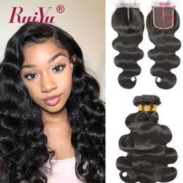 4pcs bundles closure online shopping - 5x5 Lace Closure With Bundles Brazilian Body Wave Human Hair Bundles With Closure Ruiyu Remy Hair Weave Extensions