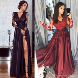 Discount high empire waist evening gowns - Women Lace Long Sleeve V Neck Dress Evening Party Ball Prom Gown Formal High Waist Maxi Dress