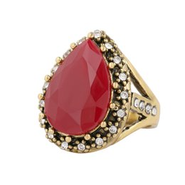 wholesale vintage style crystal rings UK - Wholesale gemstone Water drop shape ring high quality cheap Women crystal ring summer new design retro lady jewelry vintage style