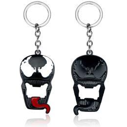 $enCountryForm.capitalKeyWord UK - Superhero Spider Man 3 Venom Keychain Enamel Black White Metal Eddie Brock Dark Superhero Keyring Car Holder Men