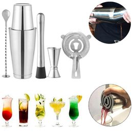 Discount bar shaker kit - New Stainless Steel Boston Cocktail Shaker Kit 5pcs for Party Bar Fashion Home Supplies
