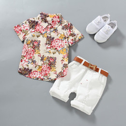 1af6b3678d59 1-5 Years Baby Boy clothes Boys Floral Shirts with Cotton Short pants Kids  Fashion Gentleman Summer Outfits Casual Sets Clothing 2pcs lot
