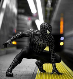 Spider Man Spiderman Mask Australia - Black Muscle Spiderman Tights Red Spider-Man Siamese Tights Spiderman Cosplay Suit Mask Can Removed or Mask Suit Together 5 Style to Choose