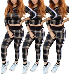$enCountryForm.capitalKeyWord Australia - Women plaid striped Tracksuit Hoodie Long Sleeve pullover Tops Pants Trousers Two Pieces Outfits set Casual Sport Suit LJJA2912