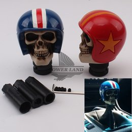 skull gear shift knobs Australia - 1set Red Blue Skull Helmet Ball Style Car Gear Knob Handles Gear Shift Knob Manual Shifter Shift Lever Handbrake Covers