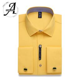 $enCountryForm.capitalKeyWord NZ - Alimens & Gentle Mens French Cuff Dress Shirt Men Long Sleeve Solid Color Striped Style Cufflink Include 2019 Fashion New Q190428
