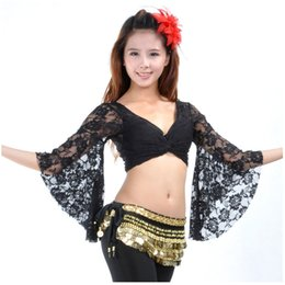 bra sleeves NZ - Belly Dance Top Women Sexy Belly Dance Costume Lace Butterfly Sleeve Bra V Neck Flare Sleeve Top