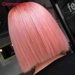 Human Hair Short Bob Wigs Australia - Pink Human Hair Lace Front Wig Peruvian Straight Wig Short Bob Lace Front Wig Pre Plucked Remy Hair