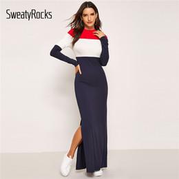 f41b9680d7c SweatyRocks Bloque de color vestido dividido Manga larga Streetwear Mujeres  Ropa casual 2019 Primavera Casual Maxi vestidos ajustados