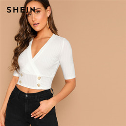 Fitted V Neck T Shirts Australia - Sexy White Double Breasted Ribbed Knit Deep V-neck Crop Top Slim Fitted T Shirt Women Summer Solid High Street Tshirt Tops C19041001