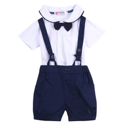 boy tuxedos UK - New Newborn Baby Boy Wedding Formal Tuxedo Suit Romper Clothes Outfit+HAT Set 0-18M Toddler Clothing Baby Boy Clothes