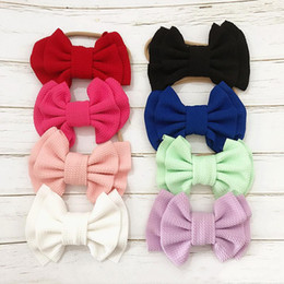 elastic hair combs Australia - 16 Colors Cute Big Bow Hairband Baby Girls Toddler Kids Elastic Headband Knotted Nylon Turban Head Wraps Bow-knot Hair Accessories