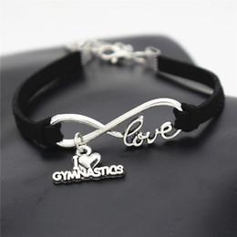 $enCountryForm.capitalKeyWord Australia - Silver Infinity Love I Heart Gymnastics Bracelets Black Leather Suede Rope Charm Braided Braiding Women Man Luxury Jewelry Pulseira Bileklik