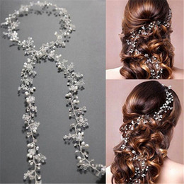 pearl bride UK - 2019 Bridal Wedding Crystal Bride Hair Accories Pearl Flower Headband Handmade Hairband Beads Decoration Hair Comb For Women