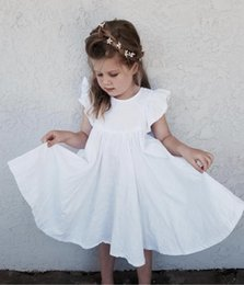 Pearl flower suit online shopping - New Summer INS Toddler Baby Dress Girsl pieces Set Ruffles Sleeveless Dresses Shorts Linen Organic Cotton Kids Girls Clothing Suits T