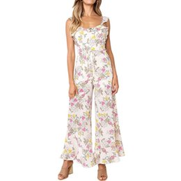 14e9ae2194d MoneRffi Women Sleeveless Floral Print Jumpsuit Ruffled Strap Backless Sexy  Wide Leg Long Pants Plus Size Rompers Femme 2019
