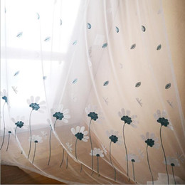 living curtains NZ - Sheer Curtains Small fresh rural simple flower leaf embroidery white yarn bedroom living room balcony finished window screen