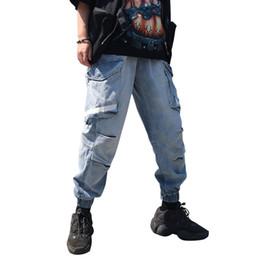 Chinese  Multi-pocket jeans men loose tide brand fat plus fat large size wide leg hip-hop straight tooling skateboard pants manufacturers
