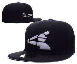 Discount flat brim cap cheap - Wholesale Top Quality Cheap White Sox Fitted Cap Embroidered Team SOX Letter Flat Brim Hats Baseball Size Caps Brands Sp