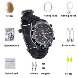 Outdoor Tools For Men Australia - Outdoor Survival Watch for Men Women Multi-functional Camping Tool Fishing Kit Compass Thermometer Knife Paracord Whistle Tools