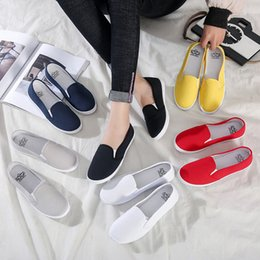 White Cotton Slips Australia - Plus Size 42 Women Sneakers Slip on Shoes Woman Flats Canvas Loafers Candy Color Casual Shoes Female White zapatos mujer