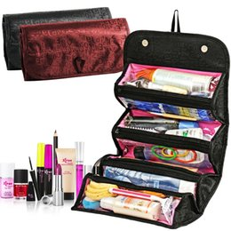 Cosmetic Bags Compartments Australia - ROLL-N-GO Cosmetics Organizer Makeup Bag Hanging Toiletries Pockets Compartment Travel Kit Roll-N-Go Jewelry Bags