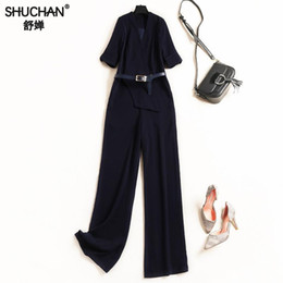 High Quality Jumpsuits Australia - Shuchan 2019 Jumpsuits With Short Sleeve Women Rompers Deep V neck bodysuit Sashes Office Lady fashion high quality 50304