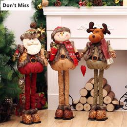 Xmas Ornaments Lights Australia - 76cm Retractable Standing Figurine Santa Claus Snowman Christmas Dolls Christmas Decorations for Home Xmas Gift Natal Decoracao