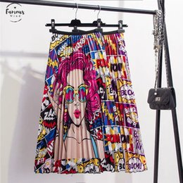 empire cartoons NZ - 2020 New Coming Spring Summer Printing Cartoon Pattern Empire High Elastic Women Skirt Party Holiday High Street Style