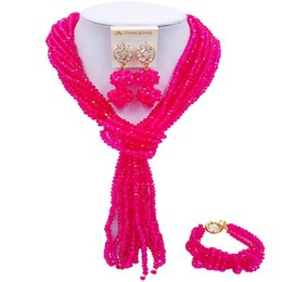 $enCountryForm.capitalKeyWord UK - Latest Fuchsia Pink African Style Women Anniversary Gift Crystal Beads Necklace Earrings Sets 10C-WJ-03