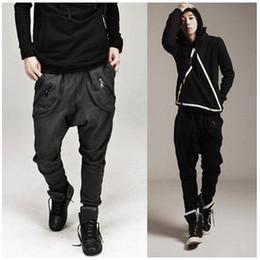 Wholesale baggy crotch hip hop trousers for sale – dress Men Casual Sweatpants Drape Drop Crotch Harem Hip hop Pants Trouser Baggy Dancing Pants Gothic Punk Style Harem Men