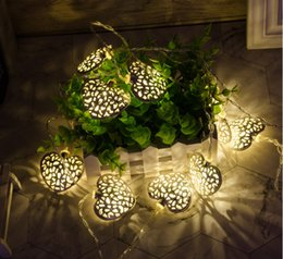 Solar Heart Lights Australia - Wholesale- 10 Leds Warm White Wood Cute Heart Shapes Romantic LED String Light For Festive Christmas Birthday Wedding Party