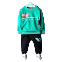 4e294edb1 Fashion Children Pure Cotton Outfit Baby Boy Girls Cartoon Fish T-shirt  Pants 2 Piece Tracksuits 2019 Spring Autumn Kdis Clothes