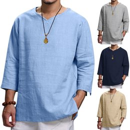 $enCountryForm.capitalKeyWord Australia - Solid Men's T-shirts Summer Casual Linen Top Comfortable Fashion Tee Top Street Style Three Quarter Sleeve Men Tee Shirt 4XL