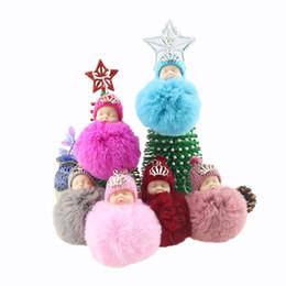 $enCountryForm.capitalKeyWord UK - Hot new Cute Sleeping Baby Doll Keychain Pompom Rabbit Fur Ball Key Chain Car Keyring Women Key Holder Bag Pendant Charm Accessories WCW240