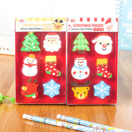 christmas pencils erasers Canada - Novelty Christmas Pencil Erasers Holiday Erasers Christmas Party Favors Stocking Stuffers Kids Crafts School Prizes Gift Box Pack WJ045