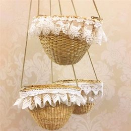 $enCountryForm.capitalKeyWord Australia - Girls straw weaving shoulder bag lace decoration 3 styles cute Kids Straw plaiting messenger bag fashion cute beach bag 17x12cm for vacation