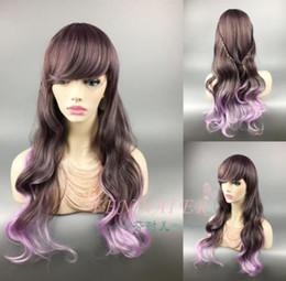 Lolita Curly Wigs Australia - Mixed purple gradient hair Lolita tide female long curly hair lady creative wigs