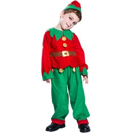$enCountryForm.capitalKeyWord UK - 2019 Christmas holiday performance costume three-piece suit new children Christmas Elf classic cute red and blue suit