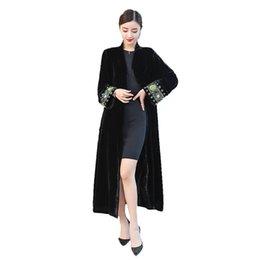 Spring Women Velvet UK - 2019 elegant Embroidered Cardigan Large Size Windbreaker Overcoat Women Spring Autumn black Velvet Long Trench Coats X603