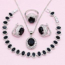 $enCountryForm.capitalKeyWord Australia - 925 Silver Bridal Jewelry Sets for Women Black Cubic Zirconia Bracelet Earrings Necklace Pendant Ring Birthday Gift