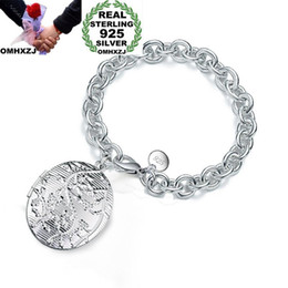 $enCountryForm.capitalKeyWord NZ - OMHXZJ Wholesale Personality Fashion Woman Girl Gift Silver Photo Round Box Charm Thick Chain 925 Sterling Silver Bracelet BR68