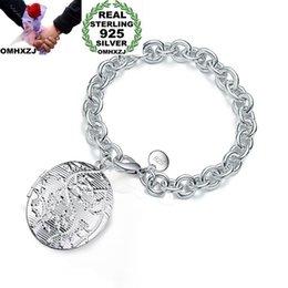 $enCountryForm.capitalKeyWord Australia - OMHXZJ Wholesale Personality Fashion Woman Girl Gift Silver Photo Round Box Charm Thick Chain 925 Sterling Silver Bracelet BR68