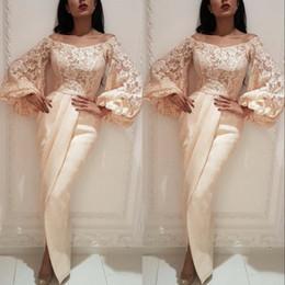 Long poet sLeeve evening dresses online shopping - Sheath Evening Gowns Prom Dresses Off Shoulder Long Puffy Sleeves Saudi Arab Dubai Women Pregant Party Dress
