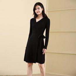 $enCountryForm.capitalKeyWord Australia - Suit-dress Bandage Dress V Lead Self-cultivation Knitting Unlined Upper Garment Long Fund Sweater Woman
